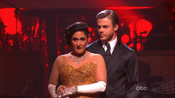 "<div class=""meta ""><span class=""caption-text "">Talk show host and actress Ricki Lake and her partner Derek Hough await possible elimination on 'Dancing With The Stars: The Results Show' on Tuesday, October 25, 2011. The pair received 29 out of 30 from the judges for their Quickstep on the October 24 episode of 'Dancing With The Stars.' (OTRC Photo)</span></div>"