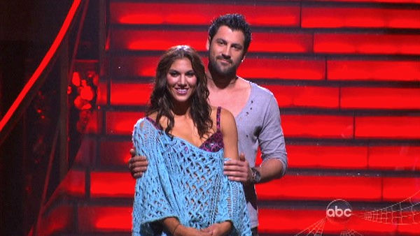 "<div class=""meta ""><span class=""caption-text "">U.S. soccer star Hope Solo and her partner Maksim Chmerkovskiy await possible elimination on 'Dancing With The Stars: The Results Show' on Tuesday, October 25, 2011. The pair received 20 out of 30 from the judges for their Rumba on the October 24 episode of 'Dancing With The Stars.' (OTRC Photo)</span></div>"