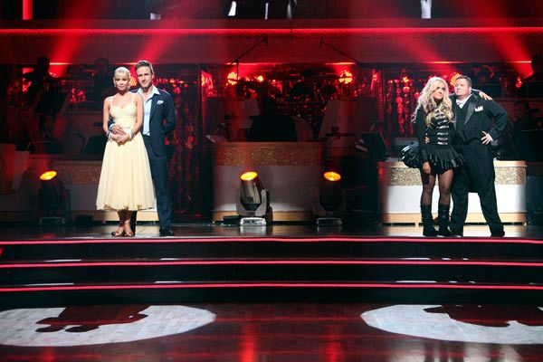 "<div class=""meta image-caption""><div class=""origin-logo origin-image ""><span></span></div><span class=""caption-text""> Actor David Arquette and his partner Kym Johnson await possible elimination on 'Dancing With The Stars: The Results Show' on Tuesday, October 25, 2011. The pair received 23 out of 30 from the judges for their Quickstep on the October 24 episode of 'Dancing With The Stars.' (ABC Photo/ Adam Taylor)</span></div>"