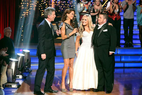 LGBT activist Chaz Bono and his partner Lacey Schwimmer react to being eliminated on &#39;Dancing With The Stars: The Results Show&#39; on Tuesday, October 25, 2011. The pair received 19 out of 30 from the judges for their Tango on the October 24 episode of &#39;Dancing With The Stars.&#39; <span class=meta>(ABC Photo&#47; Adam Taylor)</span>
