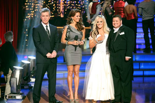 "<div class=""meta ""><span class=""caption-text "">LGBT activist Chaz Bono and his partner Lacey Schwimmer react to being eliminated on 'Dancing With The Stars: The Results Show' on Tuesday, October 25, 2011. The pair received 19 out of 30 from the judges for their Tango on the October 24 episode of 'Dancing With The Stars.' (ABC Photo/ Adam Taylor)</span></div>"