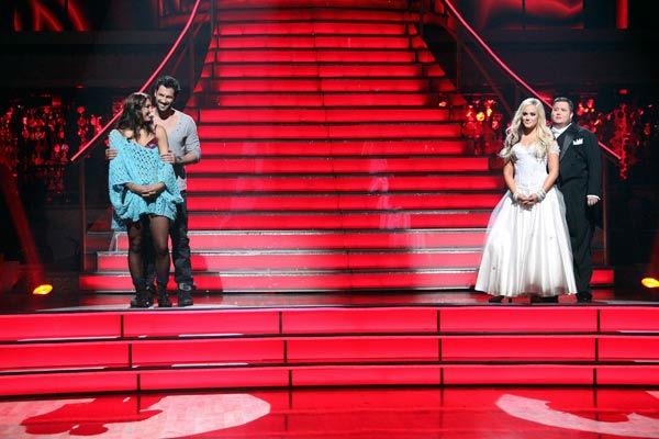 LGBT activist Chaz Bono and his partner Lacey Schwimmer, U.S. soccer star Hope Solo and her partner Maksim Chmerkovskiy await possible elimination on &#39;Dancing With The Stars: The Result Show&#39; on Tuesday, October 25, 2011. <span class=meta>(ABC Photo&#47; Adam Taylor)</span>