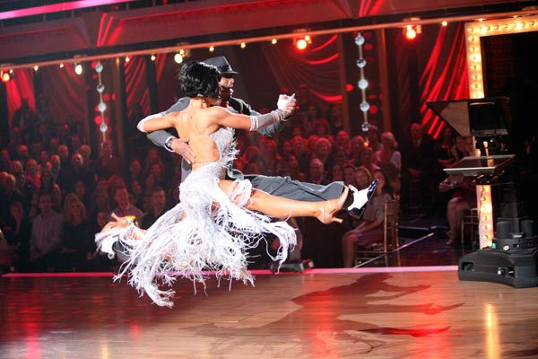 'All My Children' actor and Iraq War veteran J.R. Martinez and his partner Karina Smirnoff  perform an encore of their dance on 'Dancing With The Stars: The Results Show' on Tuesday, October 25, 2011.