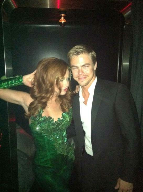 &#39;Poison ivy .. Ha,&#39; &#39;Dancing With The Stars&#39; pro Derek Hough wrote on his official Twitter page on October 29, 2011. He is seen posing next to his sister Julianne Hough who was dressed like the Batman villain.  <span class=meta>(Twitter.com&#47;derekhough)</span>