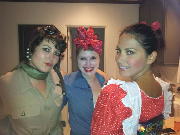 'Happy Halloween from Amelia Earhart, Rosie the Riveter, and Vicki from 'SmallWonder.' Yep- I made my robot pack myself,