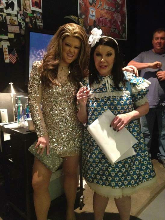 Kelly Osbourne and Joan Rivers of 'Fashion Police' dressed up like Jennifer Lopez and Suri Cruise,