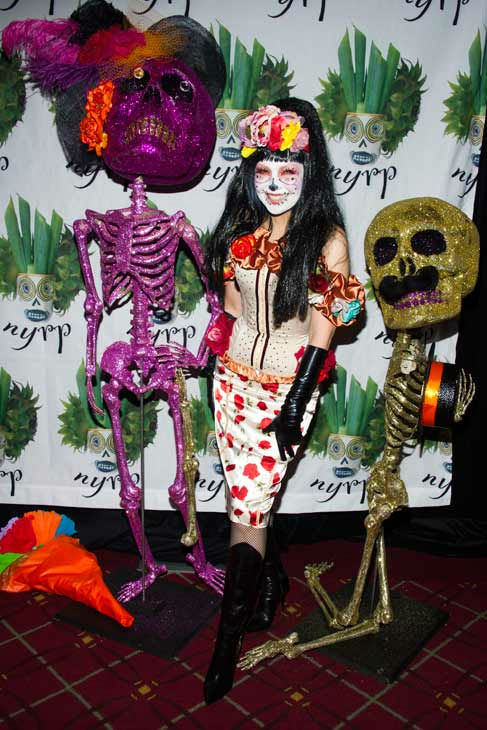 Mexican singer Thalia Mottola attends Bette Midler&#39;s Hulaween gala benefit for the New York Restoration Project, in New York, Friday, Oct. 28, 2011.  <span class=meta>(AP Photo&#47;Charles Sykes)</span>