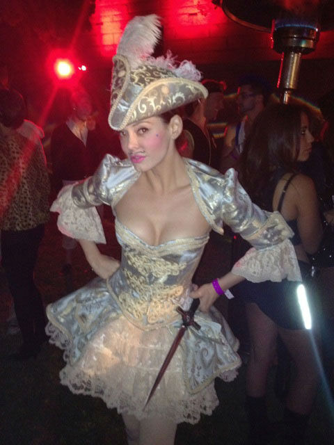 Rose McGowan celebrates at the Hollywood Forever Cemetery Halloween party on October 28, 2011.