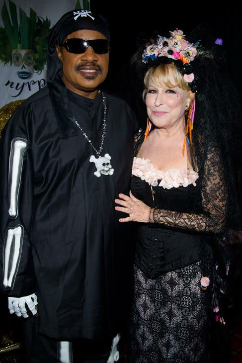 Stevie Wonder and Bette Midler attend Midler's Hulaween gala benefit for the New York Restoration Pr