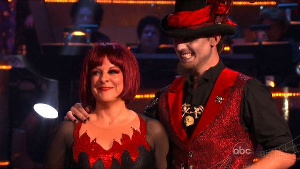 Television host Nancy Grace and her partner Tristan Macmanus received 21 out of 30 from the judges for their Jive on the October 31 episode of 'Dancing With The Stars.'