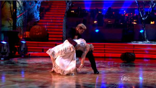 "<div class=""meta ""><span class=""caption-text "">Talk show host and actress Ricki Lake and her partner Derek Hough received 27 out of 30 from the judges for their Paso Doble on the October 31 episode of 'Dancing With The Stars.' (ABC Photo)</span></div>"