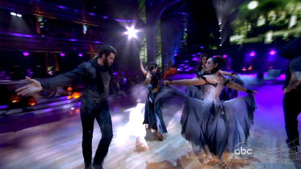 Team Paso Doble, which included contestants Ricki Lake and her partner Derek Hough, Rob Kardashian and his partner Cheryl Burke and Hope Solo and her partner Maksim Chmerkovskiy performed on the October 31 episode &#39;Dancing With The Stars.&#39; The team earned 26 points out of 30 for their performance. <span class=meta>(ABC Photo)</span>