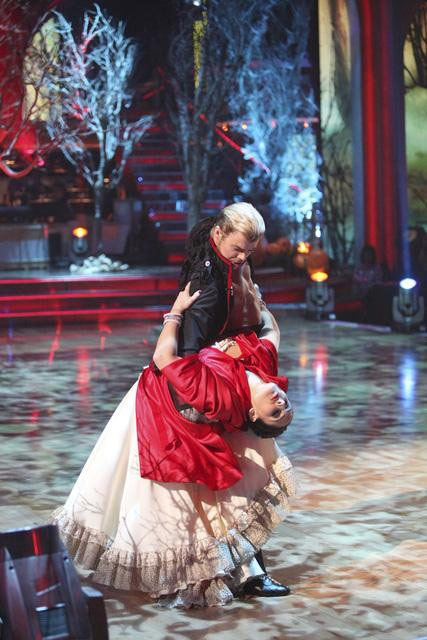 "<div class=""meta image-caption""><div class=""origin-logo origin-image ""><span></span></div><span class=""caption-text"">Talk show host and actress Ricki Lake and her partner Derek Hough received 27 out of 30 from the judges for their Paso Doble on the October 31 episode of 'Dancing With The Stars.' (ABC Photo)</span></div>"