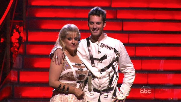 Nancy Grace and her partner Tristan Macmanus await possible elimination on 'Dancing With The Stars: The Result Show' on Tuesday, November 1, 2011. The pair received 21 out of 30 from the judges for their Jive on the October 31 episode of 'Dancing With The