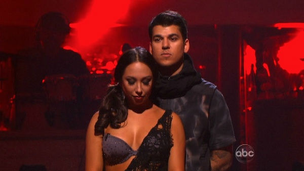 "<div class=""meta image-caption""><div class=""origin-logo origin-image ""><span></span></div><span class=""caption-text"">'Keeping Up With The Kardashians' star Rob Kardashian and his partner Cheryl Burke await possible elimination on 'Dancing With The Stars: The Results Show' on Tuesday, November 1, 2011. The pair received 25 out of 30 from the judges for their Tango on the October 31 episode of 'Dancing With The Stars.' (OTRC Photo)</span></div>"