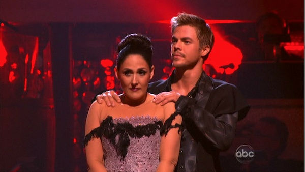 "<div class=""meta image-caption""><div class=""origin-logo origin-image ""><span></span></div><span class=""caption-text"">Talk show host and actress Ricki Lake and her partner Derek Hough await possible elimination on 'Dancing With The Stars: The Results Show' on Tuesday, November 1, 2011. The pair received 27 out of 30 from the judges for their Paso Doble on the October 31 episode of 'Dancing With The Stars.' (OTRC Photo)</span></div>"