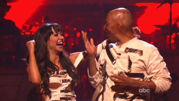 &#39;All My Children&#39; actor and Iraq War veteran J.R. Martinez and his partner Karina Smirnoff react to being safe on &#39;Dancing With The Stars: The Results Show&#39; on Tuesday, November 1, 2011. The pair received 25 out of 30 from the judges for their Tango on the October 31 episode &#39;Dancing With The Stars.&#39; <span class=meta>(OTRC Photo)</span>