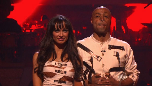 &#39;All My Children&#39; actor and Iraq War veteran J.R. Martinez and his partner Karina Smirnoff await possible elimination on &#39;Dancing With The Stars: The Results Show&#39; on Tuesday, November 1, 2011. The pair received 25 out of 30 from the judges for their Tango on the October 31 episode &#39;Dancing With The Stars.&#39; <span class=meta>(OTRC Photo)</span>
