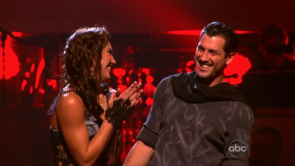 U.S. soccer star Hope Solo and her partner Maksim Chmerkovskiy react to being safe from elimination on &#39;Dancing With The Stars: The Results Show&#39; on Tuesday, November 1, 2011. The pair received 24 out of 30 from the judges for their Samba on the October 31 episode of &#39;Dancing With The Stars.&#39; <span class=meta>(OTRC Photo)</span>