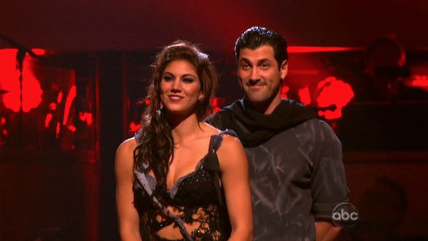"<div class=""meta image-caption""><div class=""origin-logo origin-image ""><span></span></div><span class=""caption-text"">U.S. soccer star Hope Solo and her partner Maksim Chmerkovskiy await possible elimination on 'Dancing With The Stars: The Results Show' on Tuesday, November 1, 2011. The pair received 24 out of 30 from the judges for their Samba on the October 31 episode of 'Dancing With The Stars.' (OTRC Photo)</span></div>"