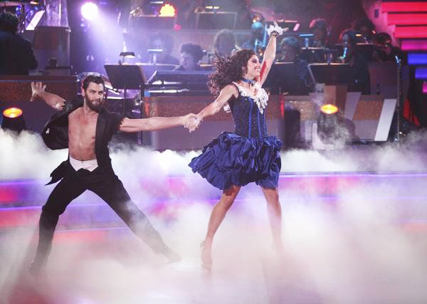 "<div class=""meta ""><span class=""caption-text "">U.S. soccer star Hope Solo and her partner Maksim Chmerkovskiy received 24 out of 30 from the judges for their Samba on the October 31 episode of 'Dancing With The Stars.' (ABC Photo)</span></div>"