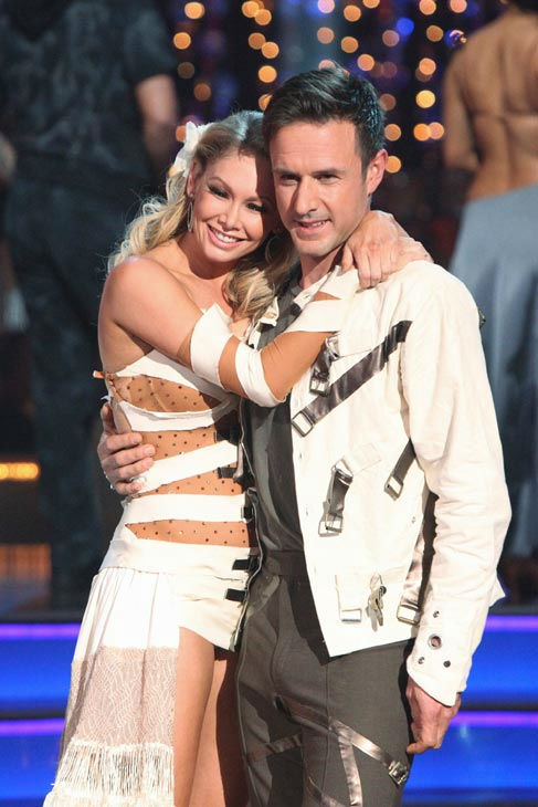 Actor David Arquette and his partner Kym Johnson react to being eliminated on 'Dancing With The Stars: The Results Show' on Tuesday, November 1, 2011. The pair received 24 out of 30 from the judges for their Cha Cha on the October 31 episode of 'Dancing W