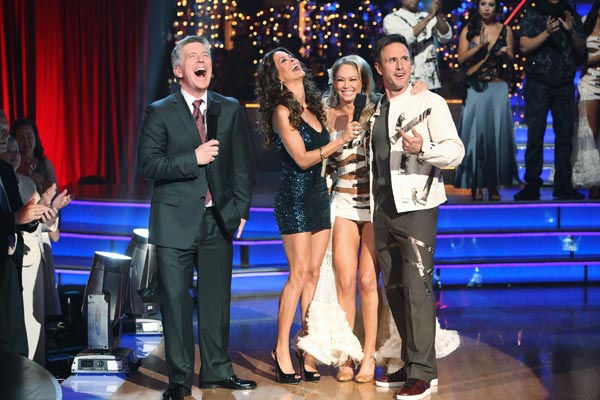 "<div class=""meta ""><span class=""caption-text "">Actor David Arquette and his partner Kym Johnson react to being eliminated on 'Dancing With The Stars: The Results Show' on Tuesday, November 1, 2011. The pair received 24 out of 30 from the judges for their Cha Cha on the October 31 episode of 'Dancing With The Stars.'  (ABC Photo/ Adam Taylor)</span></div>"