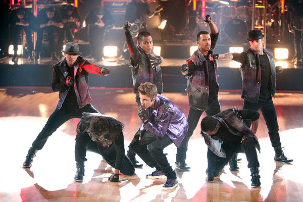 "<div class=""meta ""><span class=""caption-text "">Justin Bieber hits the 'Dancing With The Stars' stage on Tuesday, November 1, 2011, to perform 'Never Say Never.' (ABC Photo/ Adam Taylor)</span></div>"