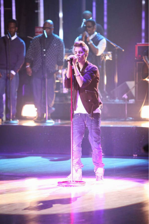 Justin Bieber was joined by Boyz II Men for a television premiere performance of 'Fa La La' on 'Dancing With The Stars: The Results Show' on Tuesday, November 1, 2011. The song, which is off Bieber's debut Christmas album 'Under the Mistletoe,' was accomp