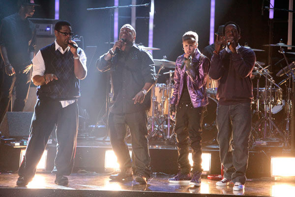 Justin Bieber was joined by Boyz II Men for a television premiere performance of &#39;Fa La La&#39; on &#39;Dancing With The Stars: The Results Show&#39; on Tuesday, November 1, 2011. The song, which is off Bieber&#39;s debut Christmas album &#39;Under the Mistletoe,&#39; was accompanied by pro dancers Mark Ballas and Chelsie Hightower. <span class=meta>(ABC Photo&#47; Adam Taylor)</span>
