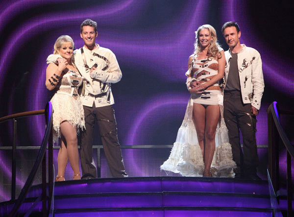 Television host Nancy Grace and her partner Tristan Macmanus, Actor David Arquette and his partner Kym Johnson await possible elimination on 'Dancing With The Stars: The Result Show' on Tuesday, November 1, 2011.