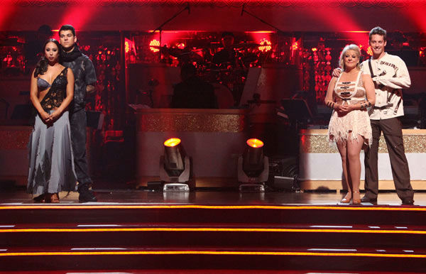 'Keeping Up With The Kardashians' star Rob Kardashian and his partner Cheryl Burke, Television host Nancy Grace and her partner Tristan Macmanus await possible elimination on 'Dancing With The Stars: The Result Show' on Tuesday, November 1, 2011.