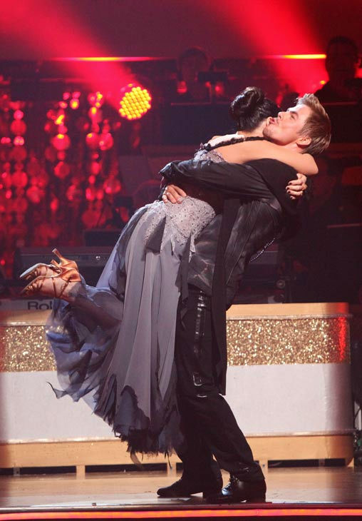 Talk show host and actress Ricki Lake and her partner Derek Hough react to being safe on 'Dancing With The Stars: The Results Show' on Tuesday, November 1, 2011. The pair received 27 out of 30 from the judges for their Paso Doble on the October 31 episode