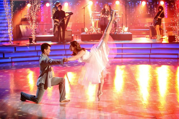 Recording artist Christina Perri sings her smash hit 'Arms,' which was accompanied by Victoria Viren, a teen from Anaheim who survived a brain tumor and Kyle Robinson on 'Dancing With The Stars: The Results Show' on Tuesday, November 1, 2011.