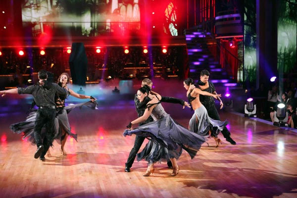 "<div class=""meta ""><span class=""caption-text "">Team Paso, which included Hope Solo and her partner Maksim Chmerkovskiy, Rob Kardashian and his partner Cheryl Burke and Ricki Lake and her partner Derek Hough performed an encore of their winning number on 'Dancing With The Stars: The Result Show' on Tuesday, November 1, 2011.  (ABC Photo/ Adam Taylor)</span></div>"