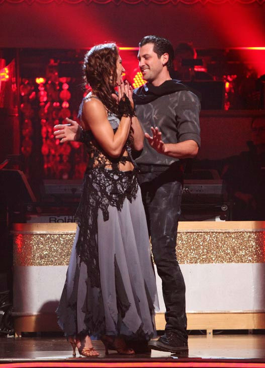U.S. soccer star Hope Solo and her partner Maksim Chmerkovskiy react to being safe from elimination on 'Dancing With The Stars: The Results Show' on Tuesday, November 1, 2011. The pair received 24 out of 30 from the judges for their Samba on the October 3