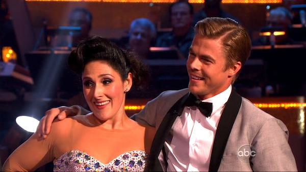 "<div class=""meta image-caption""><div class=""origin-logo origin-image ""><span></span></div><span class=""caption-text"">Talk show host and actress Ricki Lake and her partner Derek Hough received 28 out of 30 from the judges for their Waltz and 24 out of 30 for their Instant Jive, for a total of 52 on the November 7 episode of 'Dancing With The Stars.' (ABC)</span></div>"