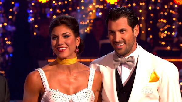 U.S. soccer star Hope Solo and her partner Maksim Chmerkovskiy received 27 out of 30 from the judges for their Quickstep and 25 points out of 30 for their Instant Jive, for a total of 52 points on the November 7 episode of 'Dancing With The Stars.'