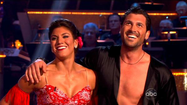 U.S. soccer star Hope Solo and her partner Maksim Chmerkovskiy received 27 out of 30 from the judges for their Quickstep and 25 points out of 30 for their Instant Jive, for a total of 52 points on the November 7 episode of &#39;Dancing With The Stars.&#39; <span class=meta>(ABC)</span>