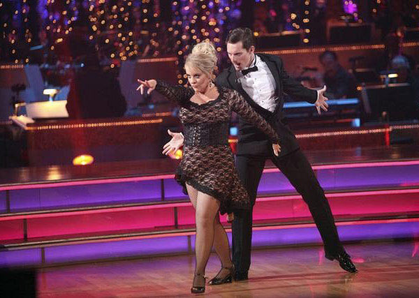 Television host Nancy Grace and her partner Tristan Macmanus received 24 out of 30 from the judges for their Tango and 20 out of 30 for their Instant Jive, for a total of 44 on the November