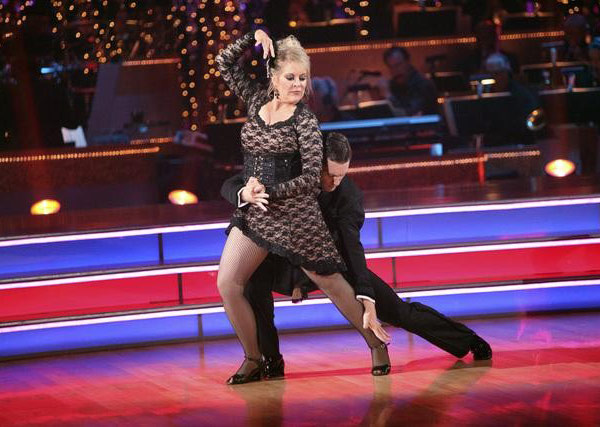 Television host Nancy Grace and her partner Tristan Macmanus received 24 out of 30 from the judges for their Tango and 20 out of 30 for their Instant Jive, for a total of 44 on the November 7 episode of &#39;Dancing With The Stars.&#39; <span class=meta>(ABC)</span>