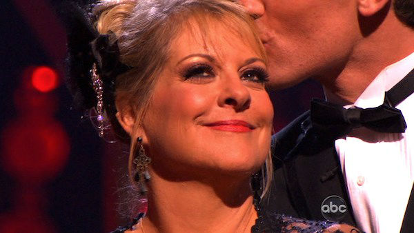 Television host Nancy Grace and her partner Tristan Macmanus react to being eliminated on 'Dancing With The Stars: The Results Show' on Tuesday, November 8, 2011. The pair received 24 out of 30 from the judges for their Tango and 20 out of