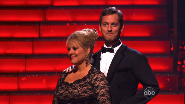 Nancy Grace and her partner Tristan Macmanus await possible elimination on &#39;Dancing With The Stars: The Result Show&#39; on Tuesday, November 8, 2011. The pair received 24 out of 30 from the judges for their Tango and 20 out of 30 for their Instant Jive, for a total of 44 on the November 7 episode of &#39;Dancing With The Stars.&#39; <span class=meta>(ABC Photo)</span>