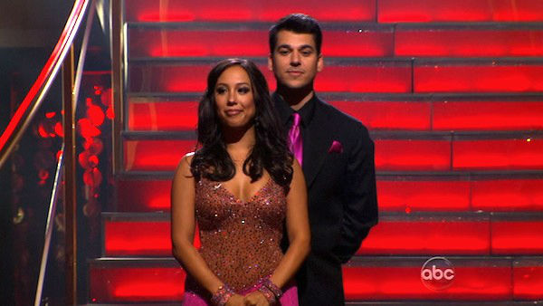 "<div class=""meta image-caption""><div class=""origin-logo origin-image ""><span></span></div><span class=""caption-text"">'Keeping Up With The Kardashians' star Rob Kardashian and his partner Cheryl Burke await possible elimination on 'Dancing With The Stars: The Results Show' on Tuesday, November 8, 2011. The pair received 27 points out of 30 from the judges for their Quickstep and 24 out of 30 for their Instant Jive, for a total of 51 points on the November 7 episode of 'Dancing With The Stars.' (ABC Photo)</span></div>"