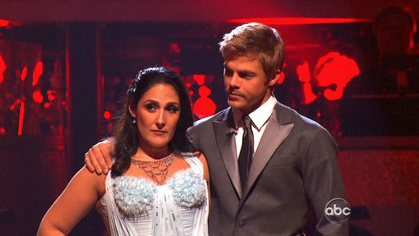 "<div class=""meta image-caption""><div class=""origin-logo origin-image ""><span></span></div><span class=""caption-text"">Talk show host and actress Ricki Lake and her partner Derek Hough await possible elimination on 'Dancing With The Stars: The Results Show' on Tuesday, November 8, 2011. The pair received 28 out of 30 from the judges for their Waltz and 24 out of 30 for their Instant Jive, for a total of 52 on the November 7 episode of 'Dancing With The Stars.' (ABC Photo)</span></div>"