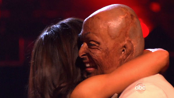 "<div class=""meta ""><span class=""caption-text "">'All My Children' actor and Iraq War veteran J.R. Martinez and his partner Karina Smirnoff react to being safe on 'Dancing With The Stars: The Results Show' on Tuesday, November 8, 2011. The pair received 30 out of 30 from the judges for their Waltz and 30 out of 30 for their Instant Jive, for a total of 60 on the November 7 episode of 'Dancing With The Stars.' (ABC Photo)</span></div>"