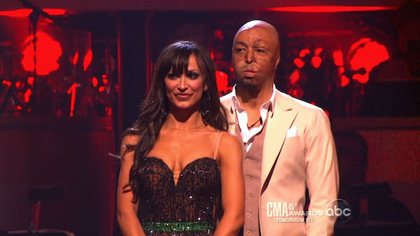 &#39;All My Children&#39; actor and Iraq War veteran J.R. Martinez and his partner Karina Smirnoff await possible elimination on &#39;Dancing With The Stars: The Results Show&#39; on Tuesday, November 8, 2011. The pair received 30 out of 30 from the judges for their Waltz and 30 out of 30 for their Instant Jive, for a total of 60 on the November 7 episode of &#39;Dancing With The Stars.&#39; <span class=meta>(ABC Photo)</span>