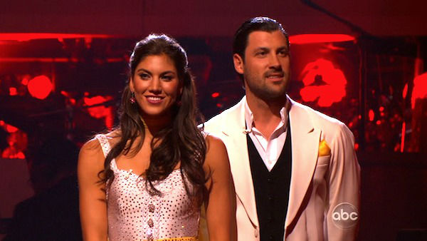 "<div class=""meta image-caption""><div class=""origin-logo origin-image ""><span></span></div><span class=""caption-text"">U.S. soccer star Hope Solo and her partner Maksim Chmerkovskiy await possible elimination on 'Dancing With The Stars: The Results Show' on Tuesday, November 8, 2011. The pair received 27 out of 30 from the judges for their Quickstep and 25 points out of 30 for their Instant Jive, for a total of 52 points on the November 7 episode of 'Dancing With The Stars.' (ABC Photo)</span></div>"
