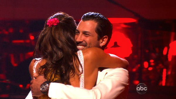 "<div class=""meta ""><span class=""caption-text "">U.S. soccer star Hope Solo and her partner Maksim Chmerkovskiy react to being safe from elimination on 'Dancing With The Stars: The Results Show' on Tuesday, November 8, 2011. The pair received 27 out of 30 from the judges for their Quickstep and 25 points out of 30 for their Instant Jive, for a total of 52 points on the November 7 episode of 'Dancing With The Stars.' (ABC Photo)</span></div>"