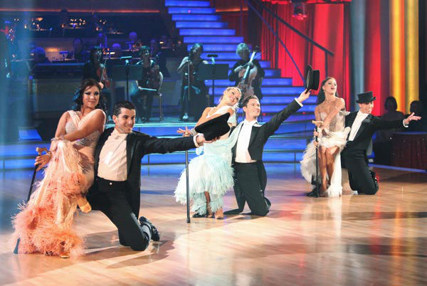 Italian singer Andrea Bocelli graced the &#39;Dancing With The Stars&#39; stage with performance of &#39;More&#39; with Chris Botti on &#39;Dancing With The Stars: The Results Show&#39; on Tuesday, November 8, 2011. The Troupe accompanied their performance. <span class=meta>(ABC Photo&#47; Adam Taylor)</span>